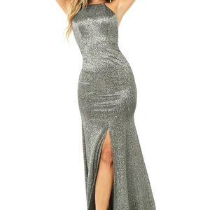 Forever 21 Silver Glitter High Neck Dress S NWT